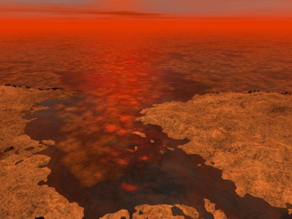 Bloques de hielo en los lagos de Titán