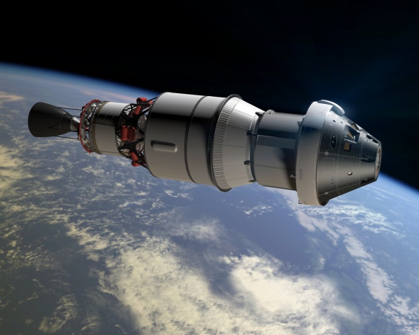 Recreación del primer vuelo de la Orion unida a la segunda etapa del cohete Delta IV